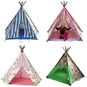 girls boys Wigwam Teepee Tent. Cowboy,Pink Fairy Princess, Floral, Blue Stripe,