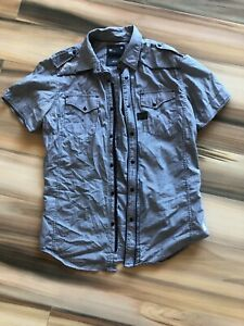 G-STAR Raw Denim Short Sleeve Mens Shirt Grey Size Large