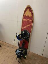 Burton Performer Snowboard Vintage Rare Red Hand Made Wood Board W/ orig Binding