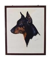 French Vintage Charcoal & Pastel Doberman Dog Portrait Drawing on Paper Signed