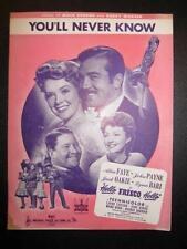 Youll Never Know Sheet Music Vintage 1943 Hello Frisco Harry Warren M Gordon (O)