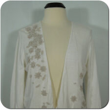 J.JILL Women's Floral Embroidered White Cardigan size M