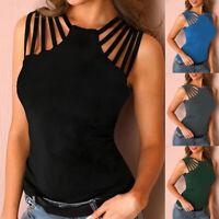 Summer Womens Casual Hollow T Shirt Sleeveless Blouse Slim Yoga Solid Tank Top