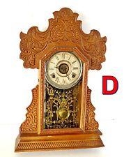 Antique E INGRAHAM KITCHEN ALARM CLOCK Oak Gingerbread Shelf/Mantle UNTESTED *D*