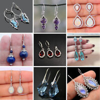 Women 925 Silver Wedding Jewelry Fashion Gift Opal Ruby Dangle Drop Earrings