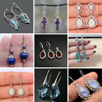 925 Silver Women Jewelry Fashion Opal Ruby Turquoise Party Dangle Drop Earrings