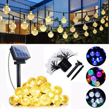 50/100 LED Solar Powered Fairy String Crystal Ball Lights Garden Party Outdoor