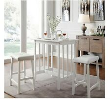 NEW 3PC White Kitchen Counter Height Dining Set Pub Bar Table Stool Chairs Small