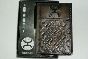 NIB** HOOEY SIGNATURE CROSSHATCH LEATHER RODEO TRIFOLD WALLET