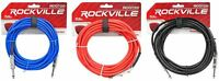 """3 Rockville 20'  1/4"""" TS to 1/4'' TS Guitar/Instrument Cable (3 Colors)"""