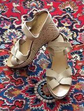 J. Crew Cleo Beige Nude Suede Leather Basketweave Platform Wedge Sandals 8M EUC