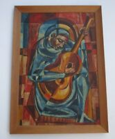 GRIFFIN 1957 MASTERFUL CUBIST PAINTING CUBISM MUSICIAN MODERNISM EXPRESSIONISM