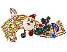 RUCINNI X'mas Musical Staff Brooch, 20K Gold plated and Swarovski Crystals