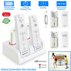 4pcs Batteries +Charger Charging Dock Station For Nintendo Wii Remote Controller