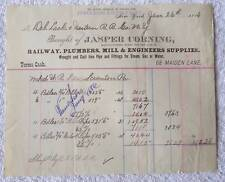 1886 BILLHEAD JASPER CORNING WESTERN RAILROAD RAILWAY SUPPLIES NEW YORK #B4K