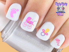 Nail Art #503 Baby Girl Pink Rattle Baby Feet WaterSlide Nail Decals Transfers