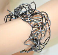 BRACCIALE Grigio Nero donna fili ondulati metallo elegante bracelet armband G10
