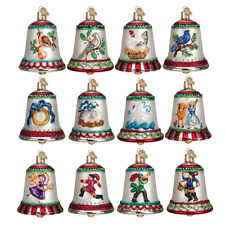 OLD WORLD CHRISTMAS 12 DAYS OF CHRISTMAS BELLS ORNAMENT SET w/STORAGE BOX  14019