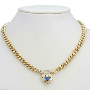 18K Yellow Gold GL Womens Solid Med Euro Curb Necklace & Sapphire Heart 45cm
