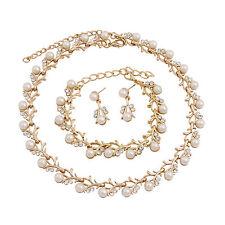 Fashion Women Pearls Jewelry Sets Wedding Pearl Necklace Earring Bracelet Set