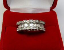 Three Row 1 CTW Round Baguette Diamond Anniversary Ring 10K White Gold Sz 9