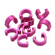 6x Pink Alloy Hydraulic Housing C-Clips Brake Cable Hose Frame C Clip UK seller