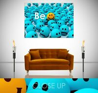 Be Happy Smiley Emoji Motivational Giant Poster Wall Art Print
