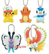 Bandai Pokemon Figure Moive Keychain set of 5 Pikachu Ho-Oh Charmander Piplup