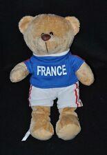 """Peluche doudou ours brun beige short blanc maillot bleu """"FRANCE"""" 30 cm TTBE"""