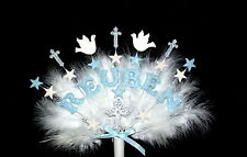 Any name Christening cross and dove feather  Cake Topper.
