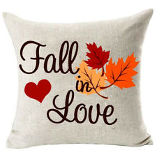 Home Decor Fall in Love Cotton Linen Pillow Covers 18x18inch Chair Wedding Gift