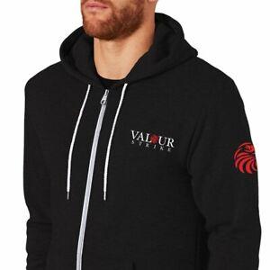 Premium Hoodie Black Hooded Zip Zipper Top Sweat Coat Sweater Hood Fleece