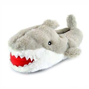 Boys Novelty Plush Grey Shark Slippers