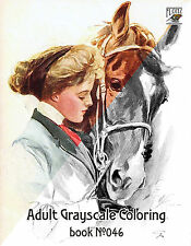 Adult Coloring Book (24 pgs) Girl and Horse Vintage Portrait FLONZ grayscale 046