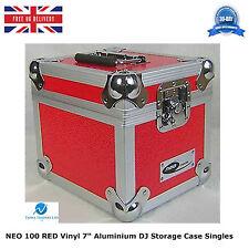 "1 X NEO RED Aluminium DJ Storage Carry Case Holds 100 Vinyl 7"" Single Records HQ"