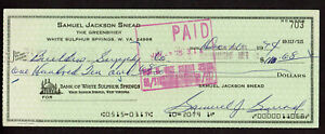 Sam Snead Signed Bank Check Autographed Masters