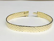 14k Yellow Gold BRICK OMEGA Bracelet, 8 mm, 7 Inch, 19 gram