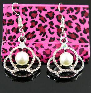 New Betsey Johnson Crown Pearl Crystal Dangle Silver Hook Earrings woman Jewelry