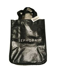 Small Black And White Sephora Bag With Handles And Stripes NWT