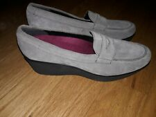 Munro Katie Slip On Wedge Shoes Gray Suede Size 9.5 Narrow
