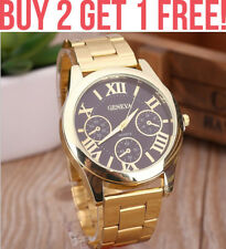 Luxury GC050 Mens Geneva Tachymeter Quartz Gold Coffee Wrist Watch Time Piece