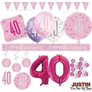 Pink 40th Birthday Party Decorations Girls Ladies Balloons Banners Age 40
