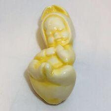 """Vintage Sleeping Baby n Bunny Suit Figure Yellow Ceramic 3 1/4"""" x 1 1/2"""" Darling"""