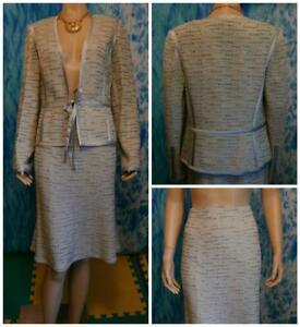 ST. JOHN Evening Blue Cream Jacket Skirt L 10 12 2pc Suit Silk Trim Shimmer