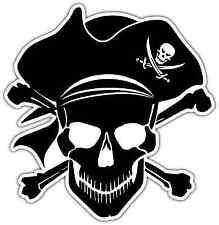"Pirate Jolly Roger Piracy Crossbones Skull Car Bumper Vinyl Sticker Decal 4""X5"""