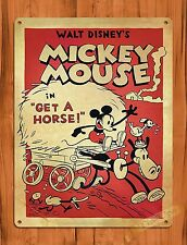 """TIN SIGN """"Mickey Mouse In Get A Horse"""" Disney  Vintage Art Ride Movie Cartoon"""