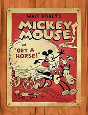 """Disney Tin Sign """"Mickey Mouse In Get A Horse"""" Vintage Art Ride Movie Cartoon"""