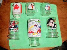 Vintage GLASSES (Lot of 6): Star Trek (2), Mickey Mouse (2), CB Jargon, Canada