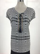 Ruby Rd NEW WT Black White Gold Accent Elegant Women's Blouse Plus size 1X,2X,3X