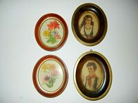 "Vintage Oval Wood Picture Frames (Lot of 4) With Children & Flowers 6.5"" & 5.5"""